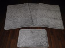 ROMANY WASHABLE TRAVELLERS MATS SET NON SLIP SUPER THICK SILVER/GREYS SEA HORSES